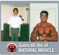 Gains 65 lbs of muscle naturally