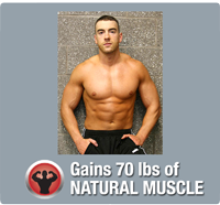 Gains 70 lbs of muscle naturally