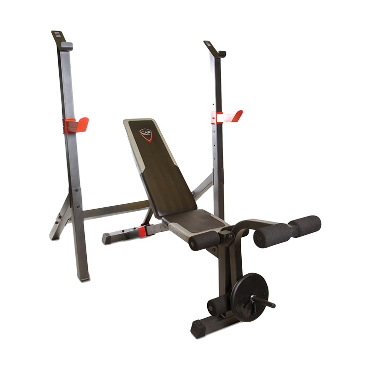 cap barbell olympic weight bench w squat rack fm 7105