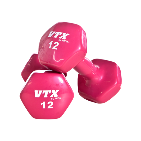 Troy Premium Bright Vinyl Dumbbells with Ergo Handle [VD]
