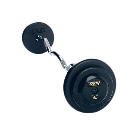 Troy Pro Style Curl Barbells with Black Weight Plates [PZB]