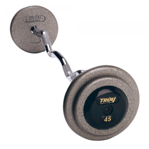 Troy Pro Style Curl Barbells with Gray Weight Plates [HZB]
