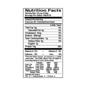 Egg Whites International Liquid Egg Whites Nutrition Label (ONE GALLON)