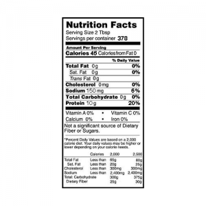 Rose Acre Farms Egg White Protein Powder Nutrition Label (10 lb box)