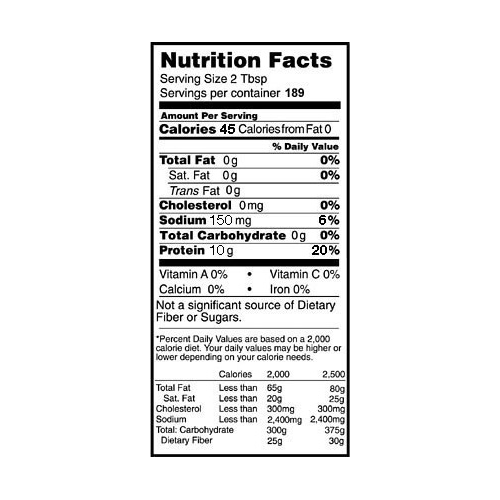 Rose Acre Farms Egg White Protein Powder Nutrition Label (5 lb box)