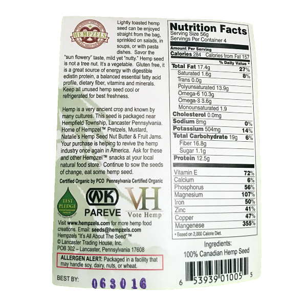 Whole Lightly Toasted Hemps Seeds (Nutrition Label)