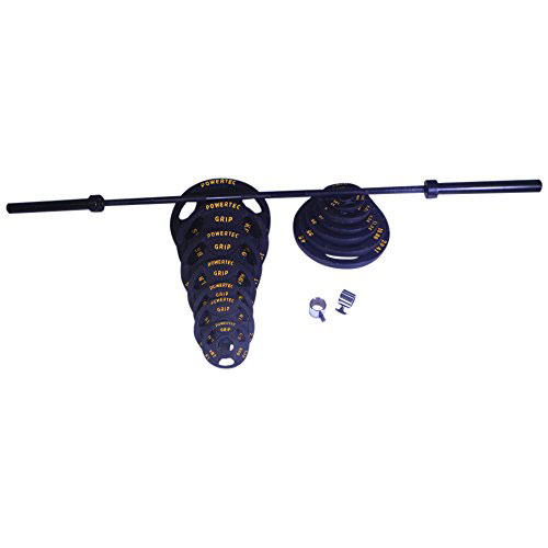 Powertec 300 lb. Olympic Bar and Plate Set [OS-300-B]
