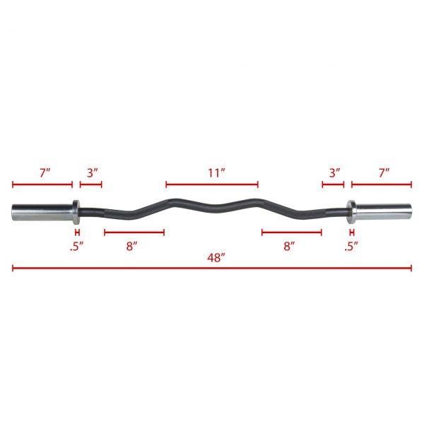 XMark Fitness Chrome Olympic EZ Curl Bar [XM-3670.1-CHROME]