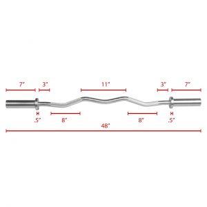 XMark Fitness Hard Chrome Commercial Olympic EZ Curl Bar [XM-3677-CHROME]