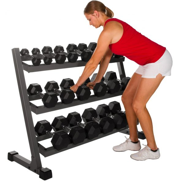 XMark Fitness Deluxe Three Tier Dumbbell Rack with Easy Reach Tilted Shelves [XM-4439]