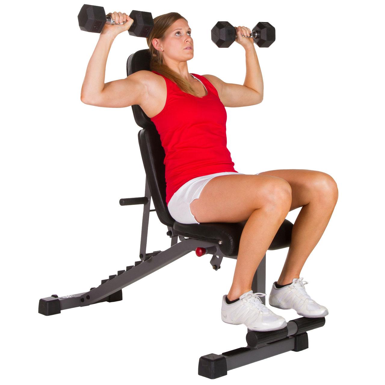 Xmark Fitness Adjustable Flat Incline Decline Dumbbell